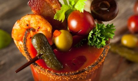 The Perfect Hangover Cure: Spicy Bloody Mary with Bacon and Shrimp